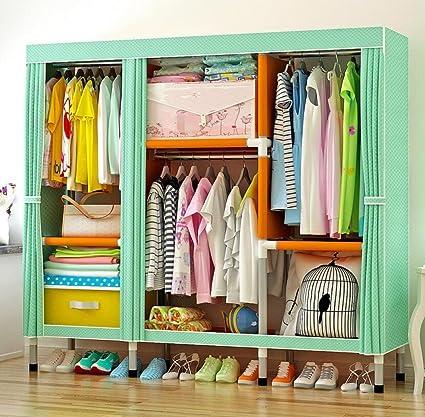 LyMei Portable Wardrobe Storage Bedroom Oxford Cloth Closet Organizer  Storage Stainless Steel Pipe Wardrobe With Hanging