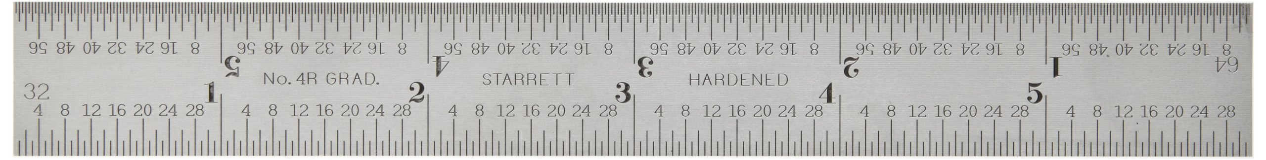 Starrett CB6-4R Combination Square Blade With Inch Graduations, Sets And Bevel Protractors, Satin Chrome Finish, 4R Graduation, 3/4'' Width, 5/64'' Thickness, 6'' Size