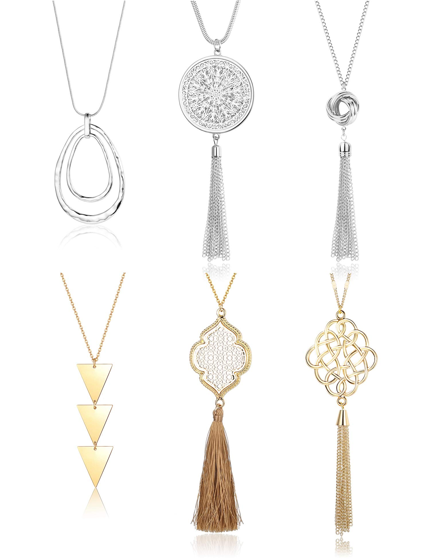 Finrezio 6PCS Long Pendant Necklace for Women Simple Three Triangle Arrow Circle Knot Tassel Y Strands Statement Necklaces Set by Finrezio