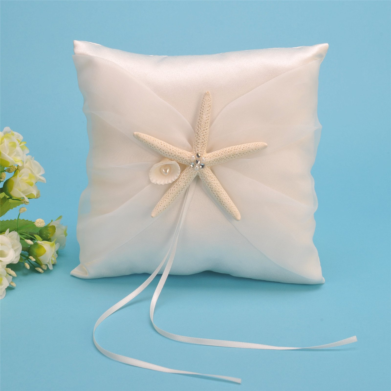 AWEI Satin and Organza Ivory Wedding Ring Bearer Pillow and Flower Girl Basket Set with Starfish