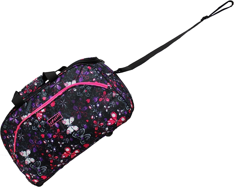 F Gear Mustang 20inch Black Bfly Pink Duffel Bag (3780)