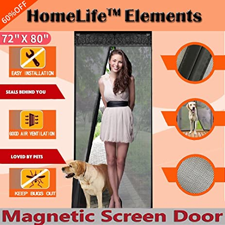 Homelife elements 72w x 80h magnetic screen door for french homelife elements 72quotw x 80quoth magnetic screen door planetlyrics Choice Image