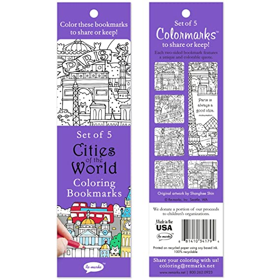 Amazon.com : Re-marks Cities of The World 5 Coloring Bookmarks ...