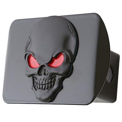 "LFPartS 100% Metal Skull 3D Emblem Trailer Hitch Cover Fits 2"" Receivers (Black Red on Black): Automotive"