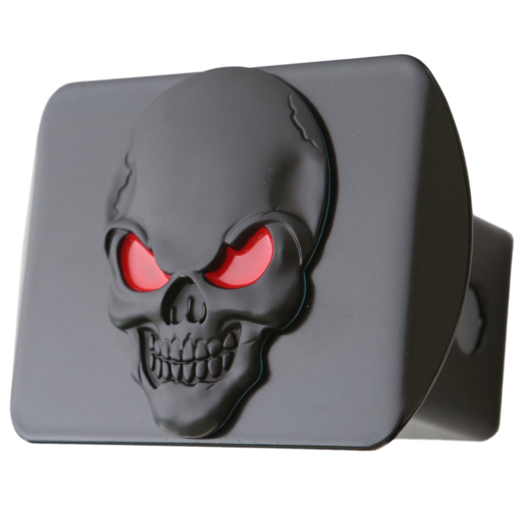 "LFPartS 100% Metal Skull 3D Emblem Trailer Hitch Cover Fits 2"" Receivers (Black Red on Black)"