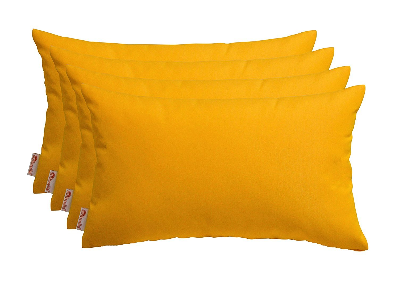 RSH Décor Set of 4 Indoor/Outdoor Decorative Throw Pillows Sunbrella Sunflower Yellow - 12'' x 20''