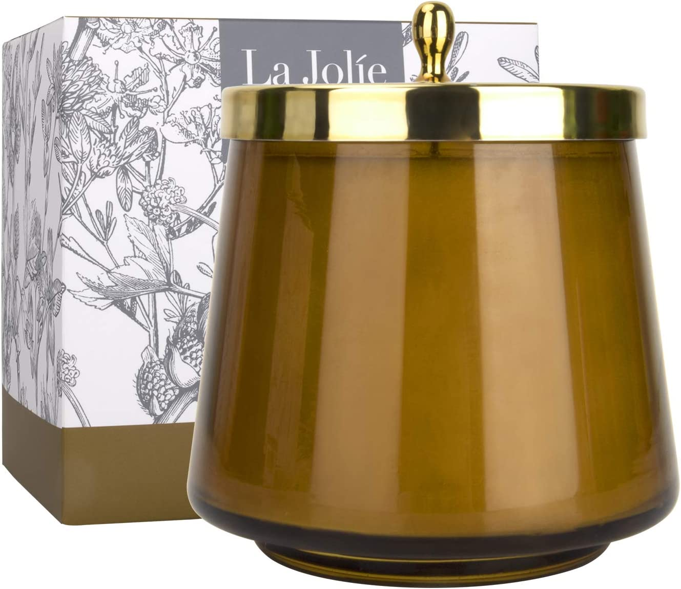 LA JOLIE MUSE Spicy Amber Scented Candle, 100% Natural Candle for Home, 75 Hours Long Burning, Oval Glass Jar Candle, 12.3Oz