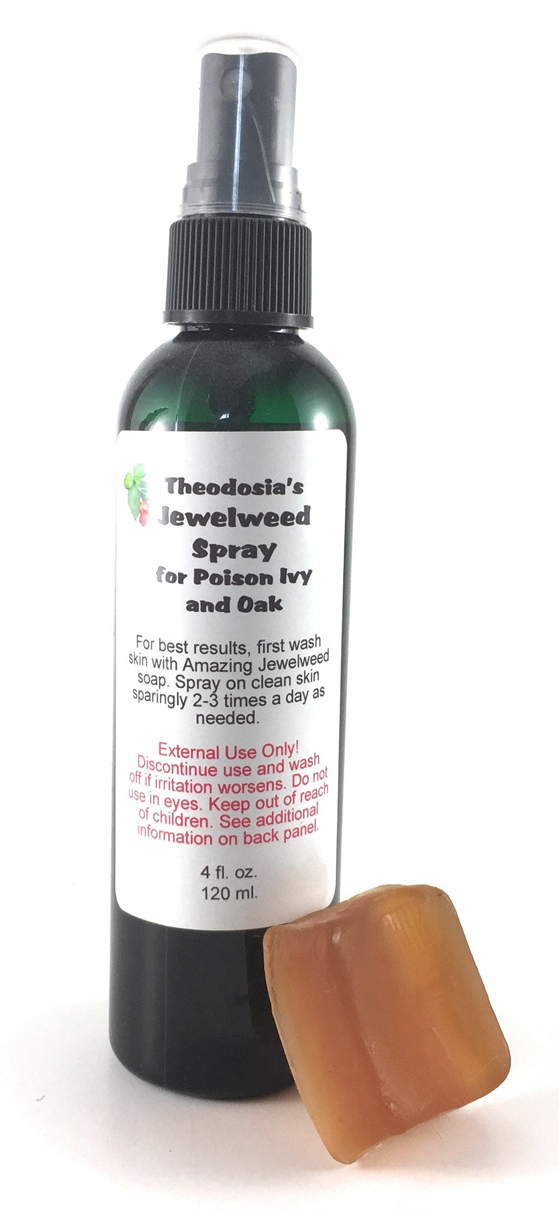 Jewelweed Poison Ivy Spray and Soap for the Relief of Itch and Rash from Oak, Ivy and Sumac with Natural Jewelweed (4oz Spray and .75oz Soap) by Theodosia