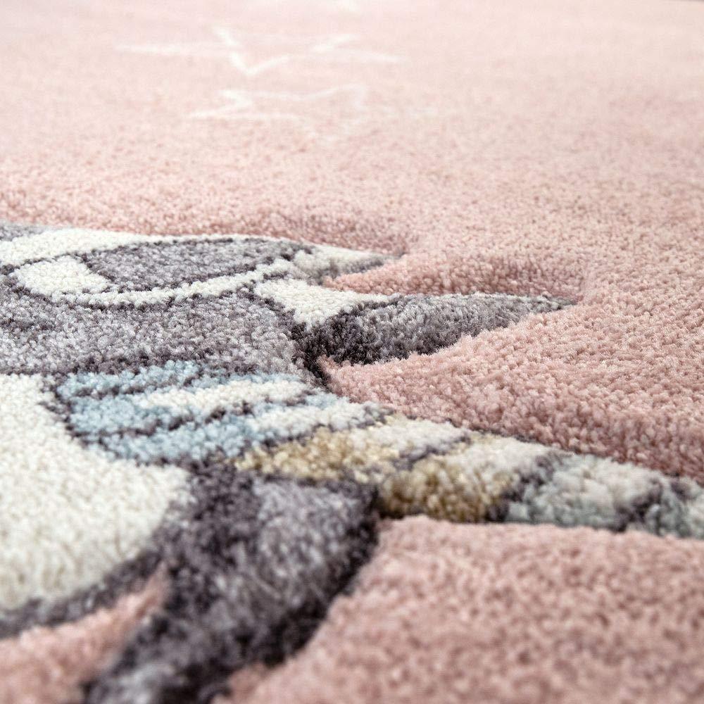 Dimension:80x150 cm Tapis Chambre Enfant Adorable Couleurs Pastel Licorne Coeurs Nuages Motif en Rose