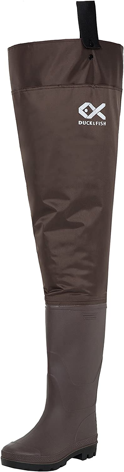 Duck and Fish Brown Fishing Wader Hip Boots with Cleated Outsole