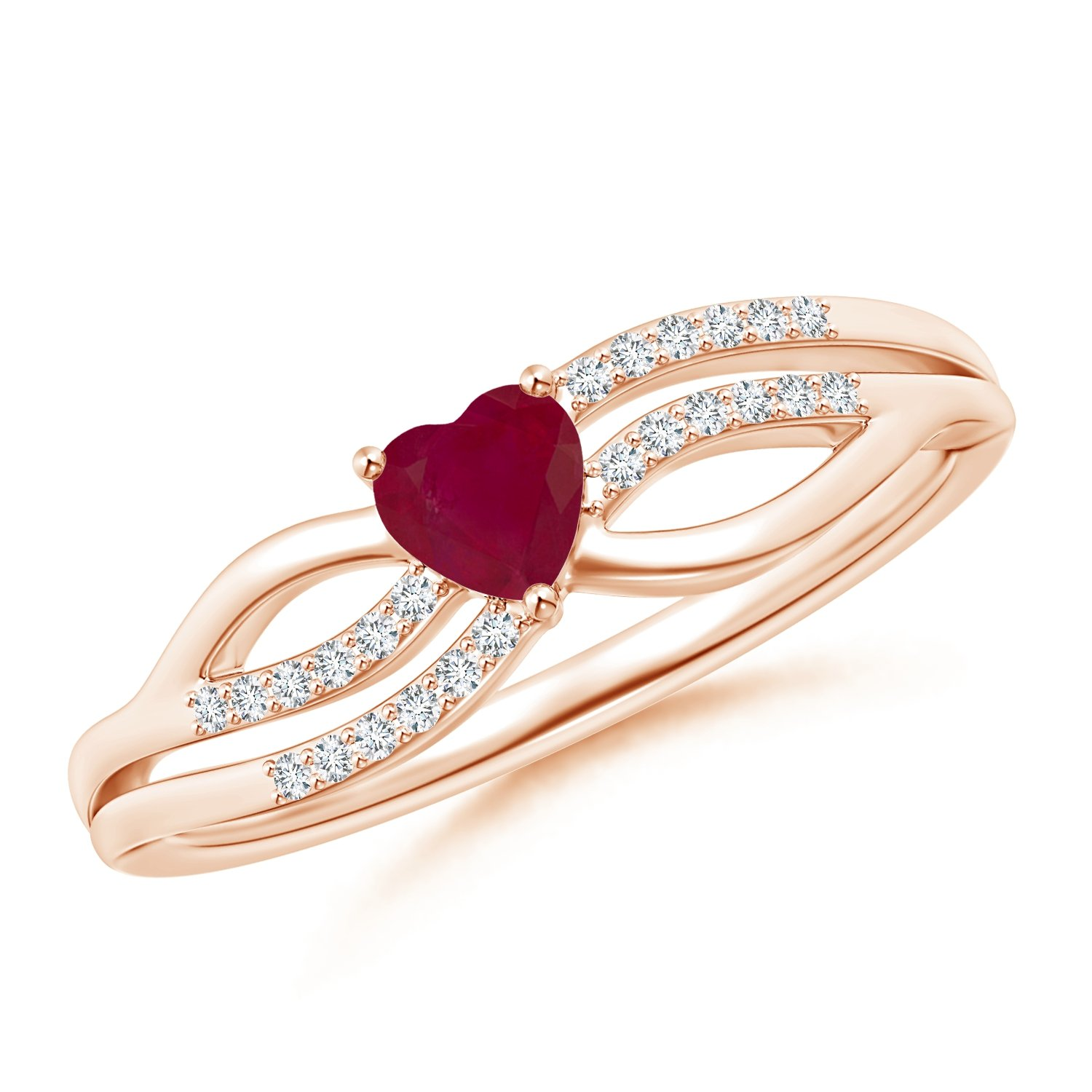 Solitaire Ruby Heart Promise Ring with Diamond Accents in 14K Rose Gold (4mm Ruby)
