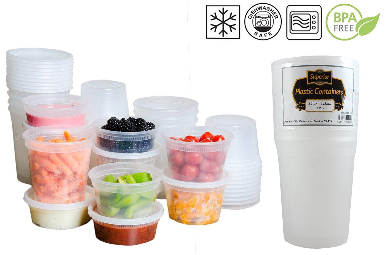 Contenitori per Alimenti con Coperchio, Plastica, 8oz - 235ml, 10 Pezzi Phoods Ltd