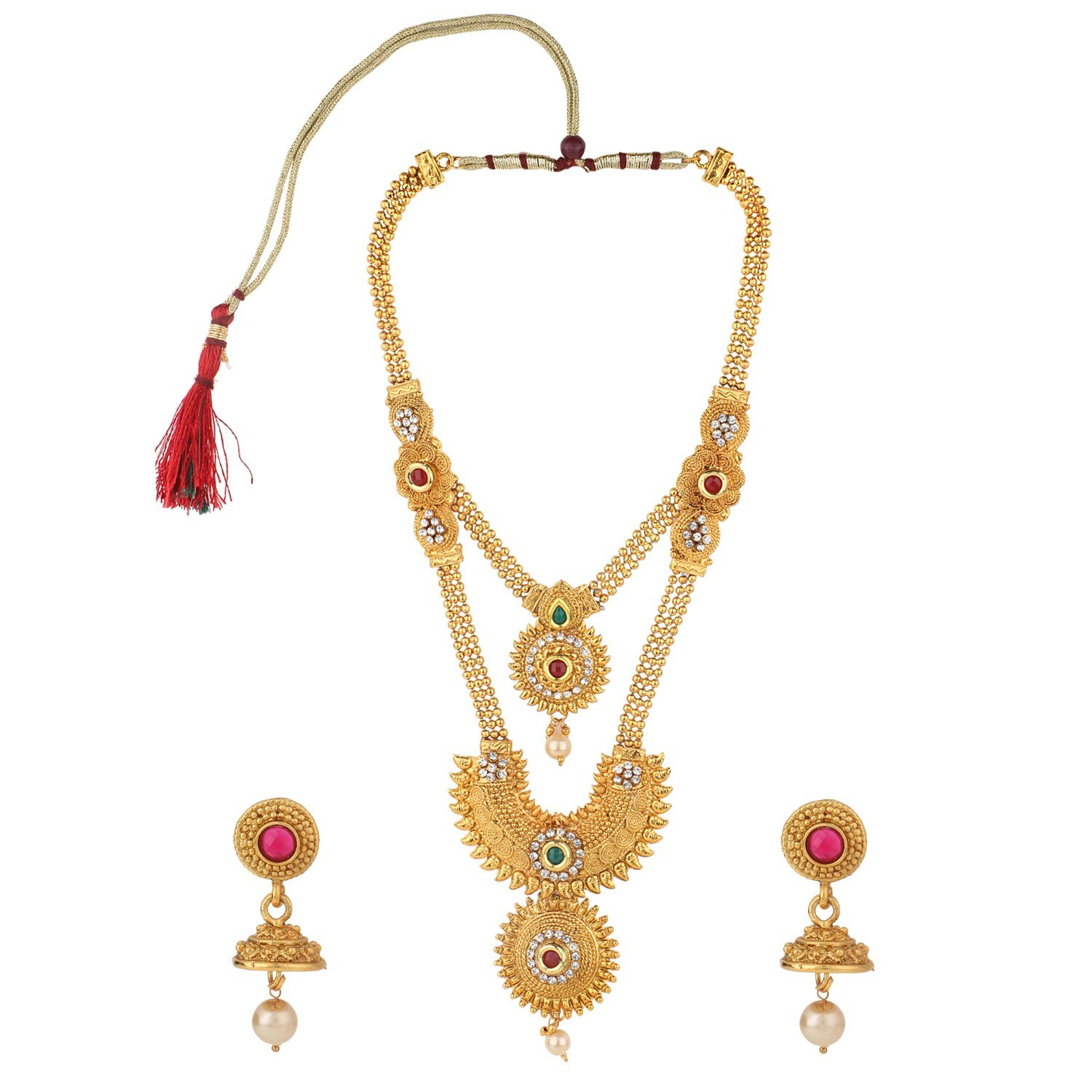 Efulgenz Indian Bollywood Traditional White Red Green Rhinestone Faceted Round Shape Faux Ruby Emerald Heavy Bridal Designer Jewelry Necklace Set in Antique 18K Gold Tone for Women and Girls