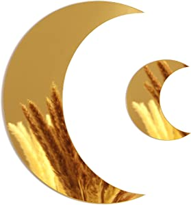 CRAFT JOY Gold Crescent Moon Mirrors (Set of 2) - Boho Chic Home Aesthetic Suitable for Any Decor: Bedrooms, Bathrooms, Living Room - Easy to Hang, Interior Decorative Wall Mirror Set