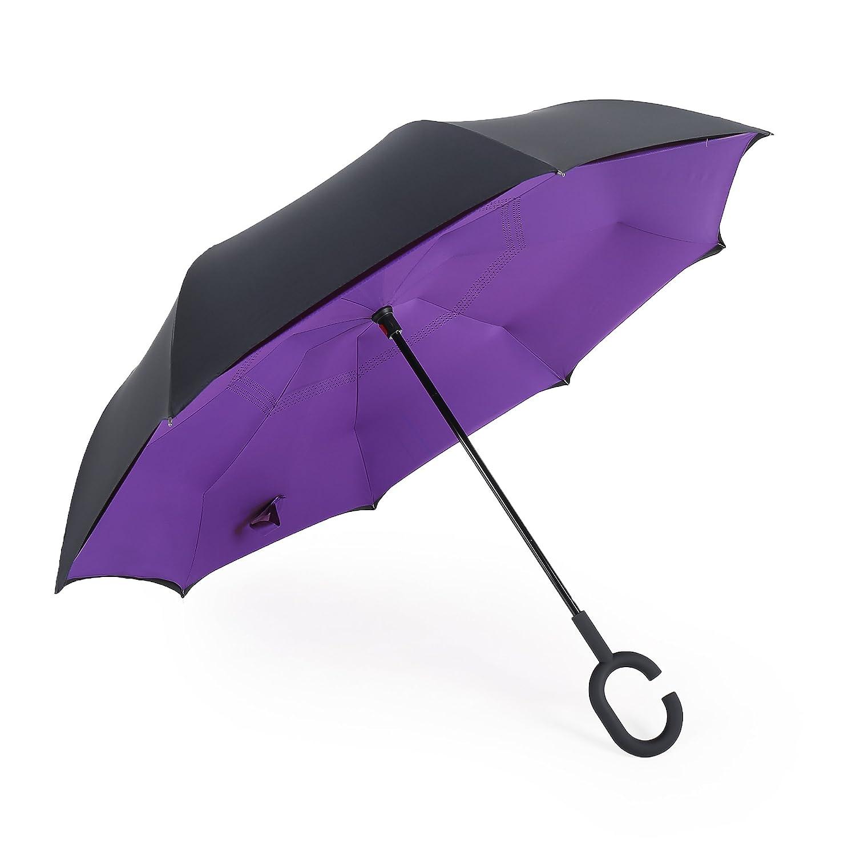 Merrya Parapluie double auvent inversé résistant au vent avec protection UV Elover Big Fermeture inversés Parapluie pour auto pluie soleil extérieur Autonome à l'envers avec poignée en forme de C mains libres
