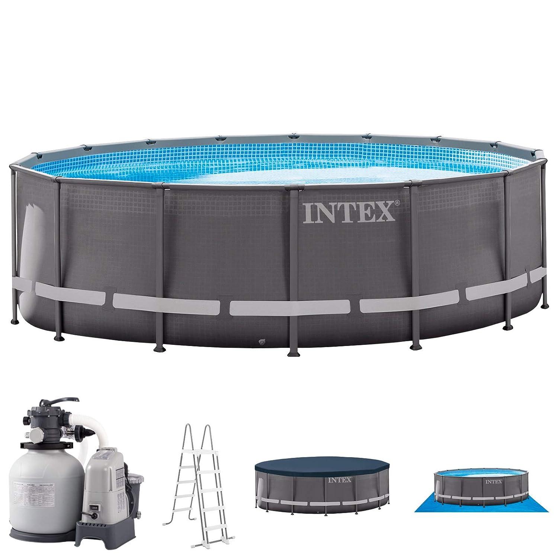 - INTEX Ultra Frame - Piscina (Piscina con Anillo Hinchable, Círculo, 26423 L, azul, 6 año(s), 6056 l h)