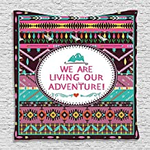 SCOCICI Supersoft Fleece Throw Blanket Quotes Adventure Time Decoration for Accesories Printed Silky Satin Fabric Fuchsia Brown White Turquoise 59 x 59 Inches