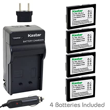 Kastar Battery (4-Pack) and Charger Kit for Nikon EN-EL2 work with Nikon Coolpix 2500, Nikon Coolpix 3500, Nikon Coolpix SQ500 Digital Cameras