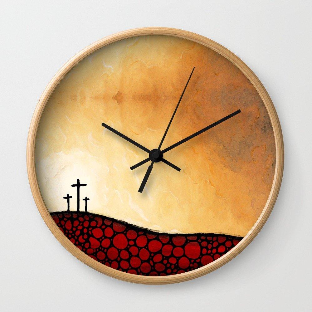 Society6 Forgiven - Christian Art By Sharon Cummings Wall Clock Natural Frame, Black Hands by Society6