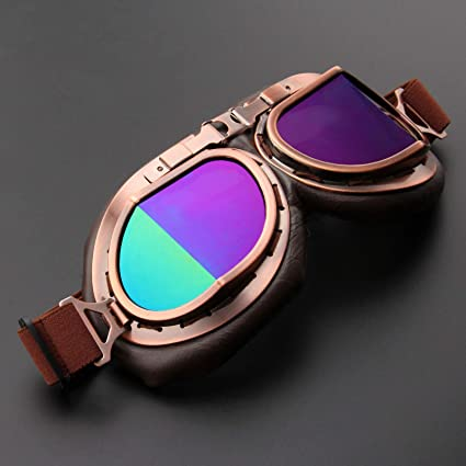 61259c5c76 Motorcycle Goggles Glasses Vintage Motocross Classic Goggles Retro Aviator  Pilot Cruiser Steampunk ATV Bike UV Protection Copper (Color)  Amazon.in   Car   ...