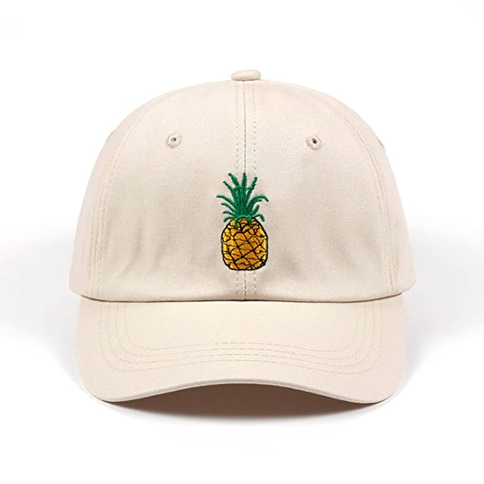 a51a7780a6249 Amazon.com  Cornermeve Men Women Pineapple Dad Hat Baseball Cap Cotton  Style Unconstructed Fashion Unisex Dad Cap Hats Bone Garros Beige  Clothing