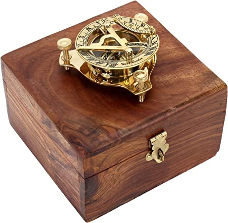 Zap Impex ® Reloj de latón de latón, compás Reloj de latón nostálgico en Caja de Madera Caja de Regalo de Madera, brújula 3 Pulgadas con Caja de Palisandro (5 Pulgadas): Amazon.es: Hogar