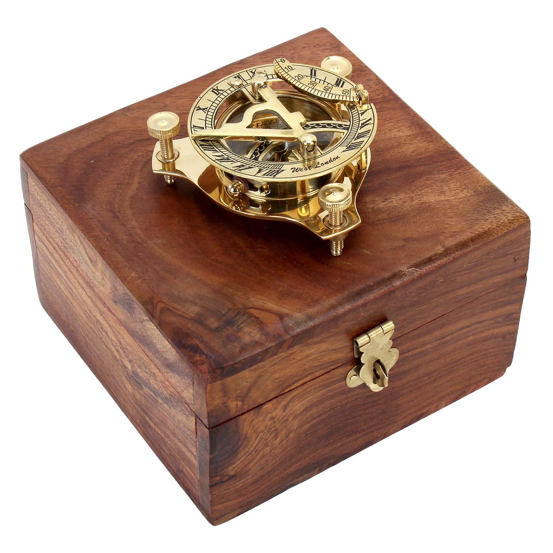 Zap Impex antike Sonnenuhr mit Kompass Nostalgie Messing Uhr in Holzkiste Holz Geschenk