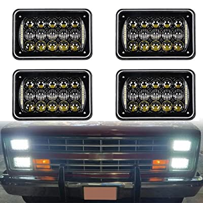 2020 DOT Approved 60w 4x6 inch LED Headlights Rectangular Replacement H4651 H4652 H4656 H4666 H6545 with DRL for Peterbil Kenworth Freightinger Ford Probe Chevrolet Oldsmobile Cutlass(black,4pcs): Automotive