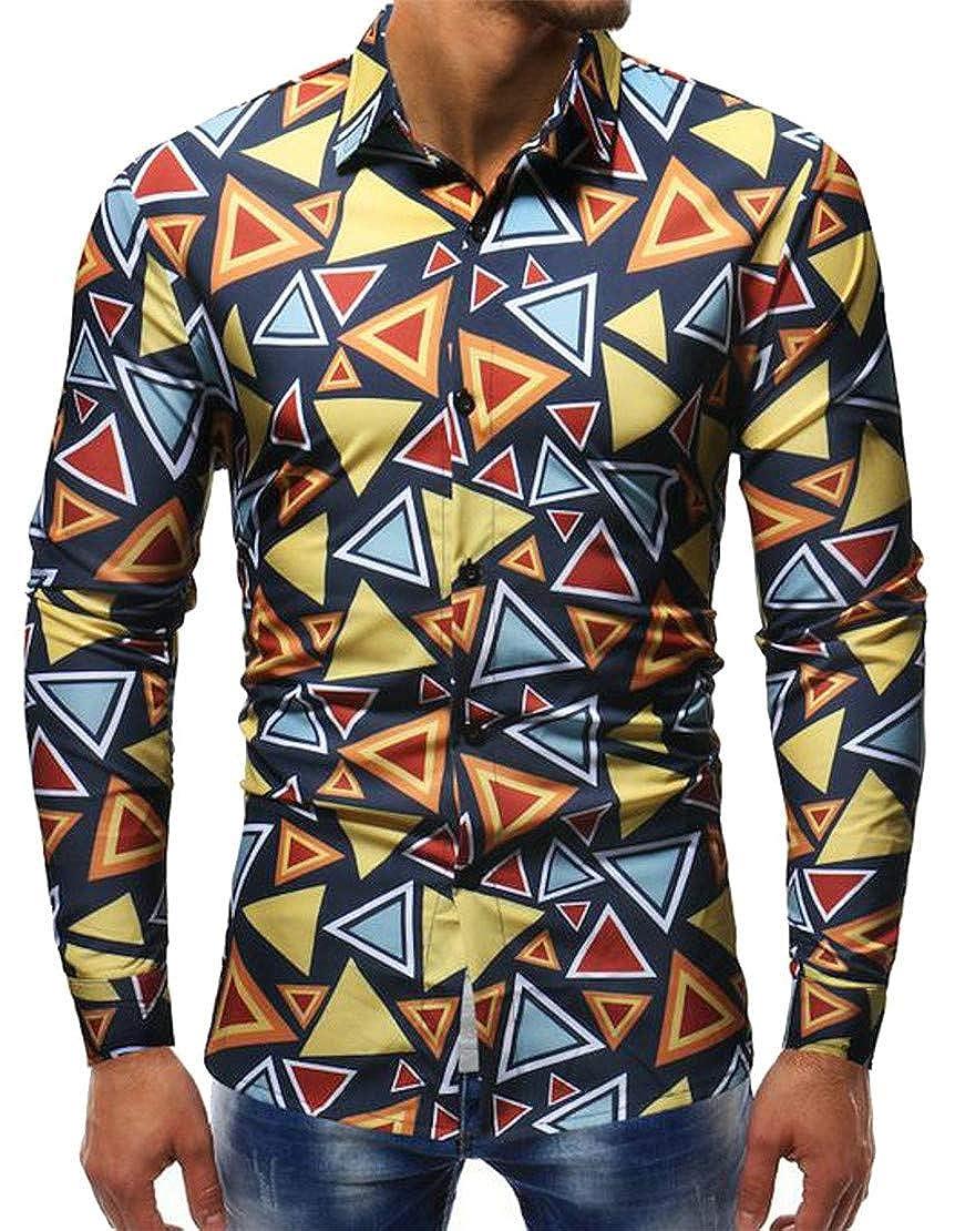 Wopop Mens Vogue Floral Printed Lapel Neck Pattern Curved Hem Button Down Shirts