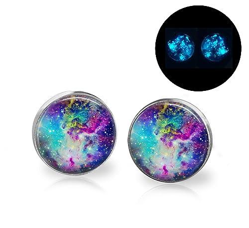 Glow in the dark glittery full moon earrings
