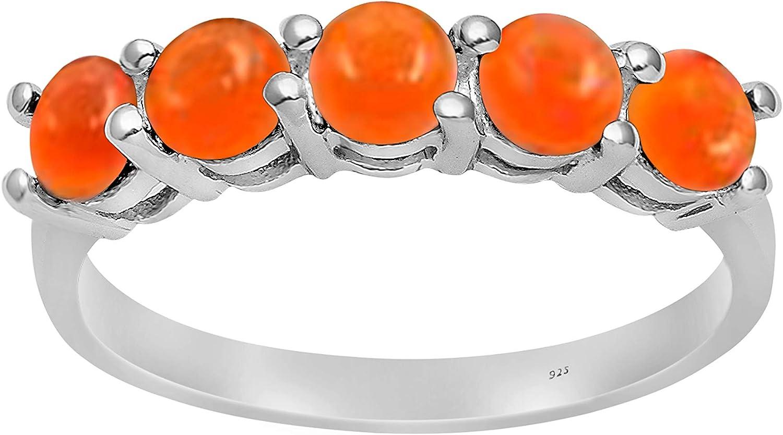 Shine Jewel Arte Deco cornalina Anillo Medio de eternidad para Mujer de Plata de Ley 925 con Piedras Preciosas