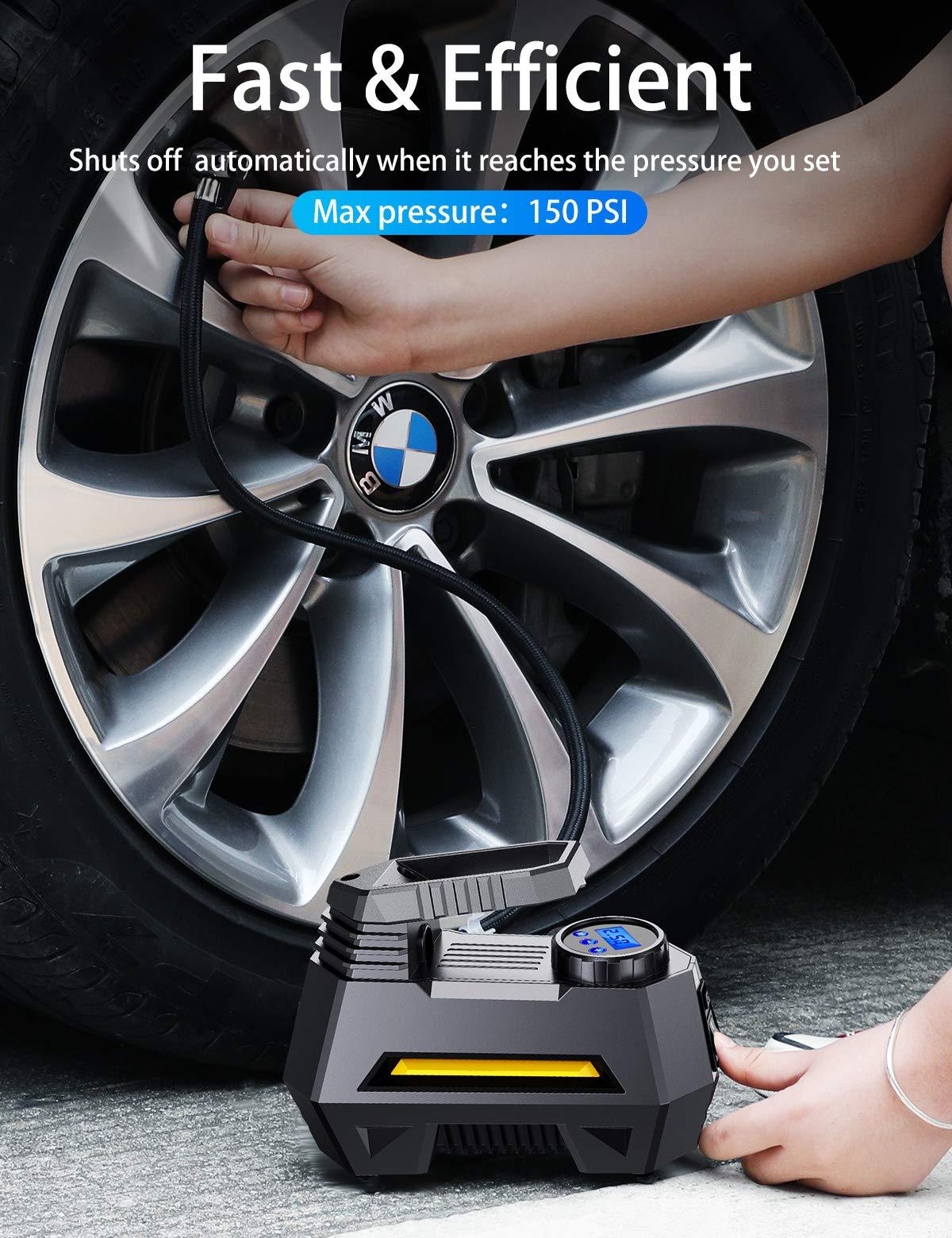 JOYROOM Portable Air Compressor Tire Inflator - Car Tire Pump with Digital Pressure Gauge (150 PSI 12V DC), Bright Emergency Flashlight - for Auto, Trucks, Bicycles, Balls by JOYROOM (Image #2)