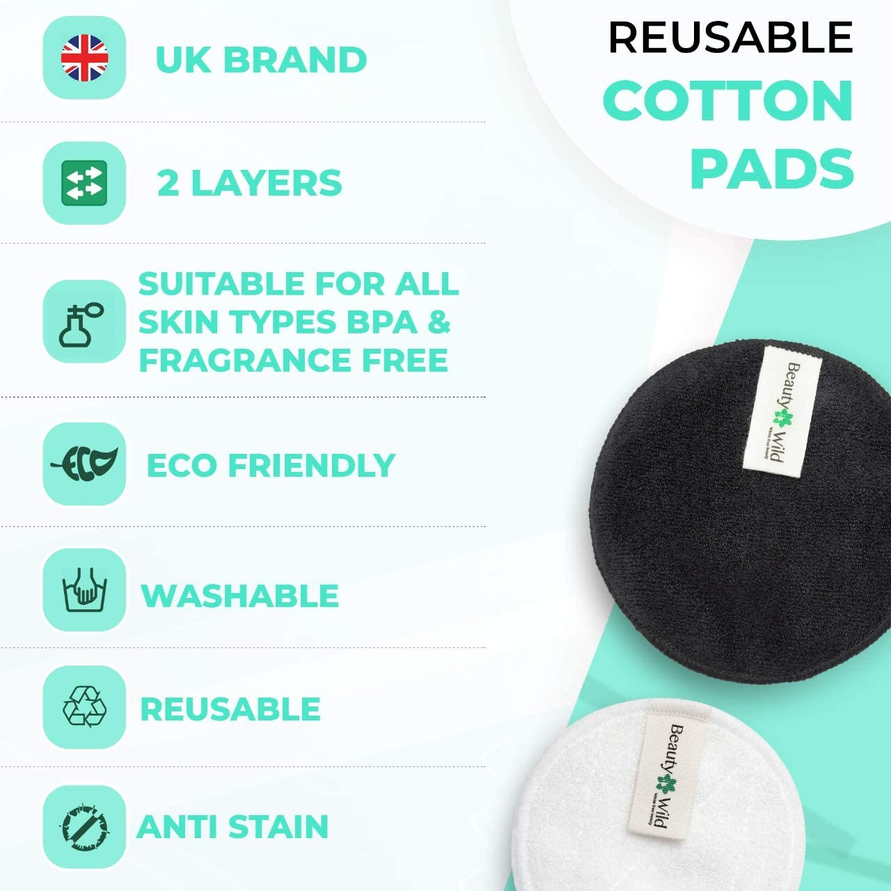 21 x Bamboo Cotton Reusable Face Pads with Wash Bag 2-Layer Make Up Remove Facial Rounds for Sensitive Skin Eco-Friendly Make-Up Cleansing Cloths BeautyWild Reusable Makeup Remover Pads Set