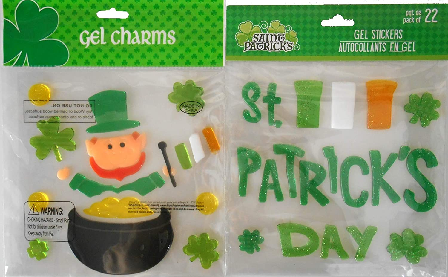 St. Patrick's Day Gel Window Clings - St. Patrick's Day, Leprechaun in a Pot O Gold with Loose Coins and Clovers-Bundle of 2