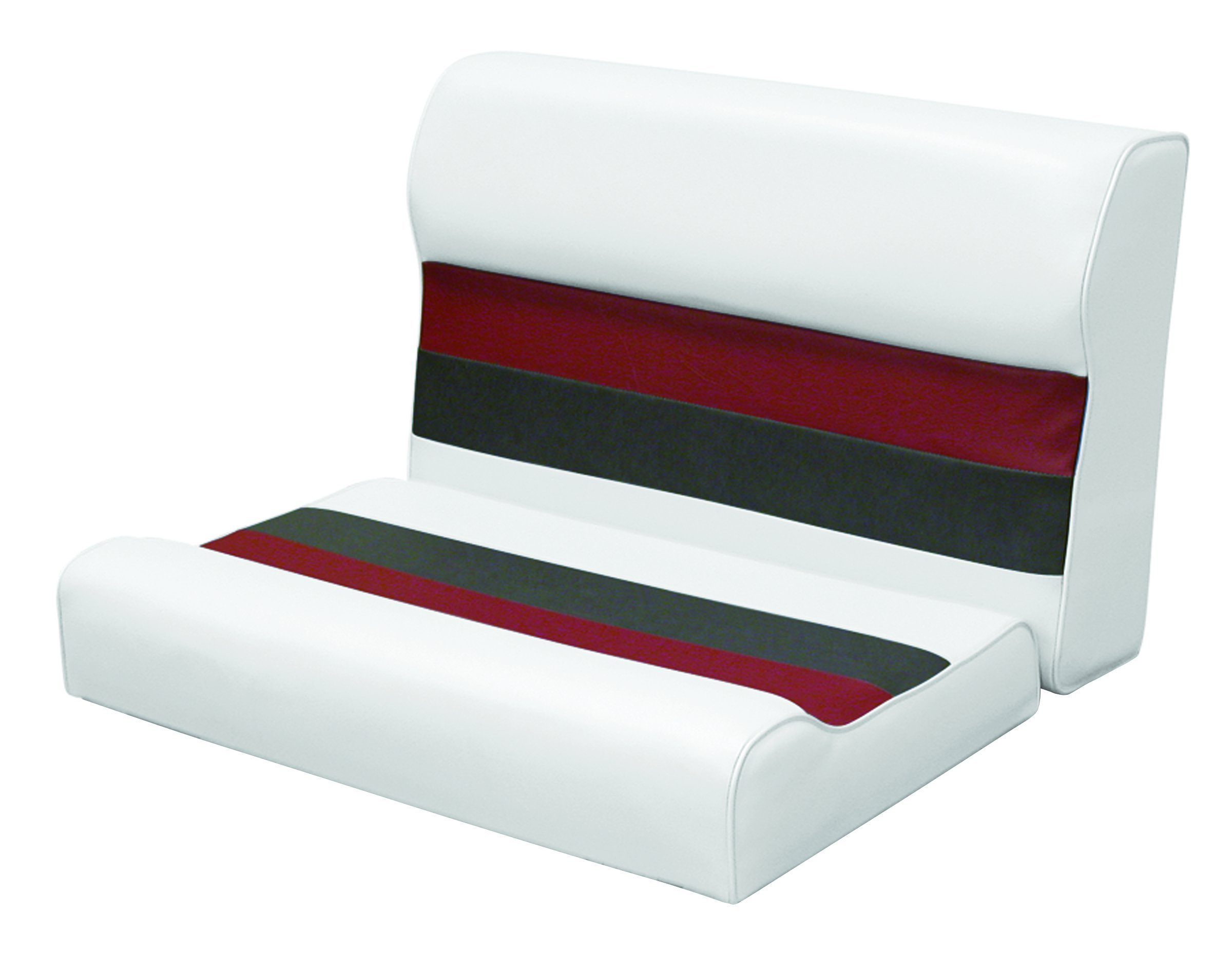 Wise 28-Inch Cushion Only Pontoon Bench Seat, White/Charcoal/Red