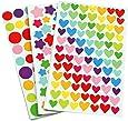 Yansanido 18 Sheets Colorful Decorative Colored Dots,heart,stars Adhesive Sticker Tape Kids Craft Scrapbooking (18 Sheet)
