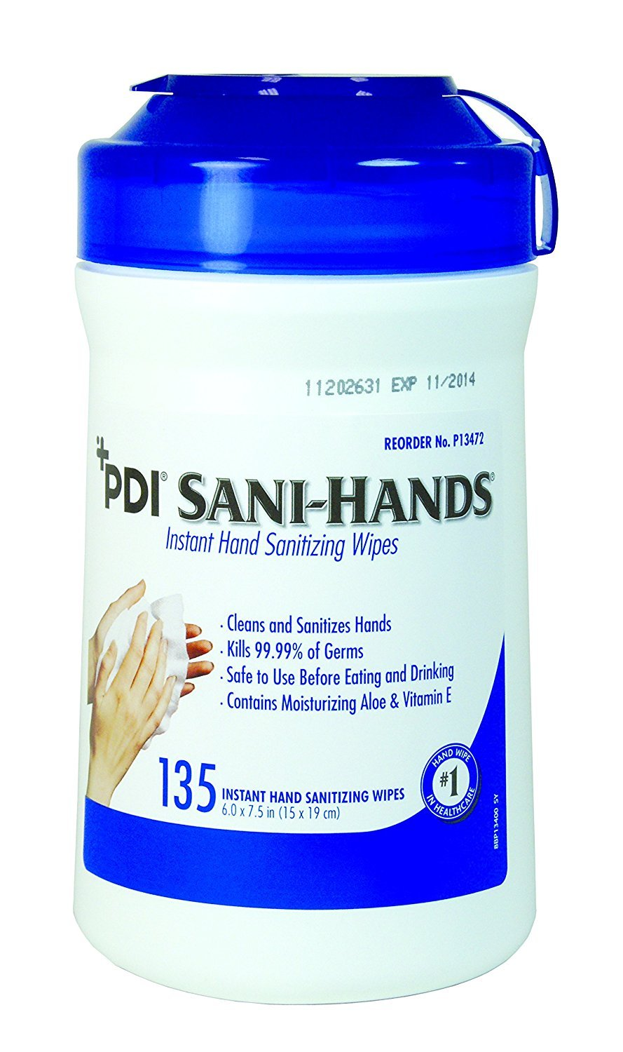 PDI Sani-Hands Medium Canister Disinfecting Hand Wipes (Case of 12)