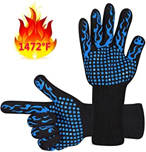 DAWNDEW BBQ Barbecue Gloves High Temperature Resistant Protective Gloves to Protect 932f- Oven Gloves to Prevent Cuts and Scratches Thickened Inner Layer (Blue)
