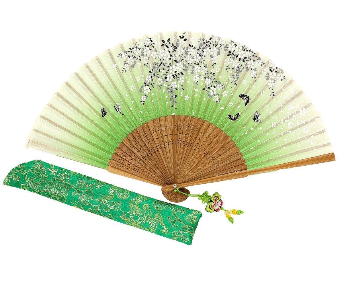 Wise Bird Chinese Fan Japanese Folding Hand Fan, Vintage Retro Style Fan 8' Bamboo/Wood/Sandalwood Fan, Silk Fan Purse Fan, Wedding Favors, Home Decor Fan with Sleeve/Embroidery Tassel - F571 Vintage Retro Style Fan 8 Bamboo/Wood/Sandalwood Fan