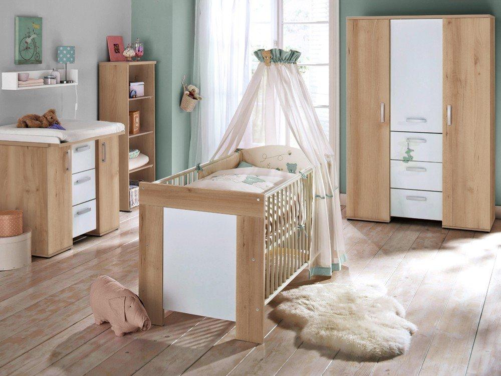 Babyzimmer SET 3 teilig edelbuche Kinderbett Wickelkommode Kleiderschrank