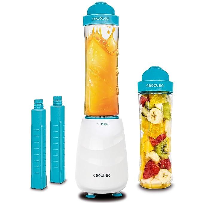 Cecotec Smoothie Maker, batidora de Vaso Individual portátil con Cuchillas de Titanio y 350 W. Dos Vasos de 600 ML Libre de BPA y Dos Tubos refrigeradores.