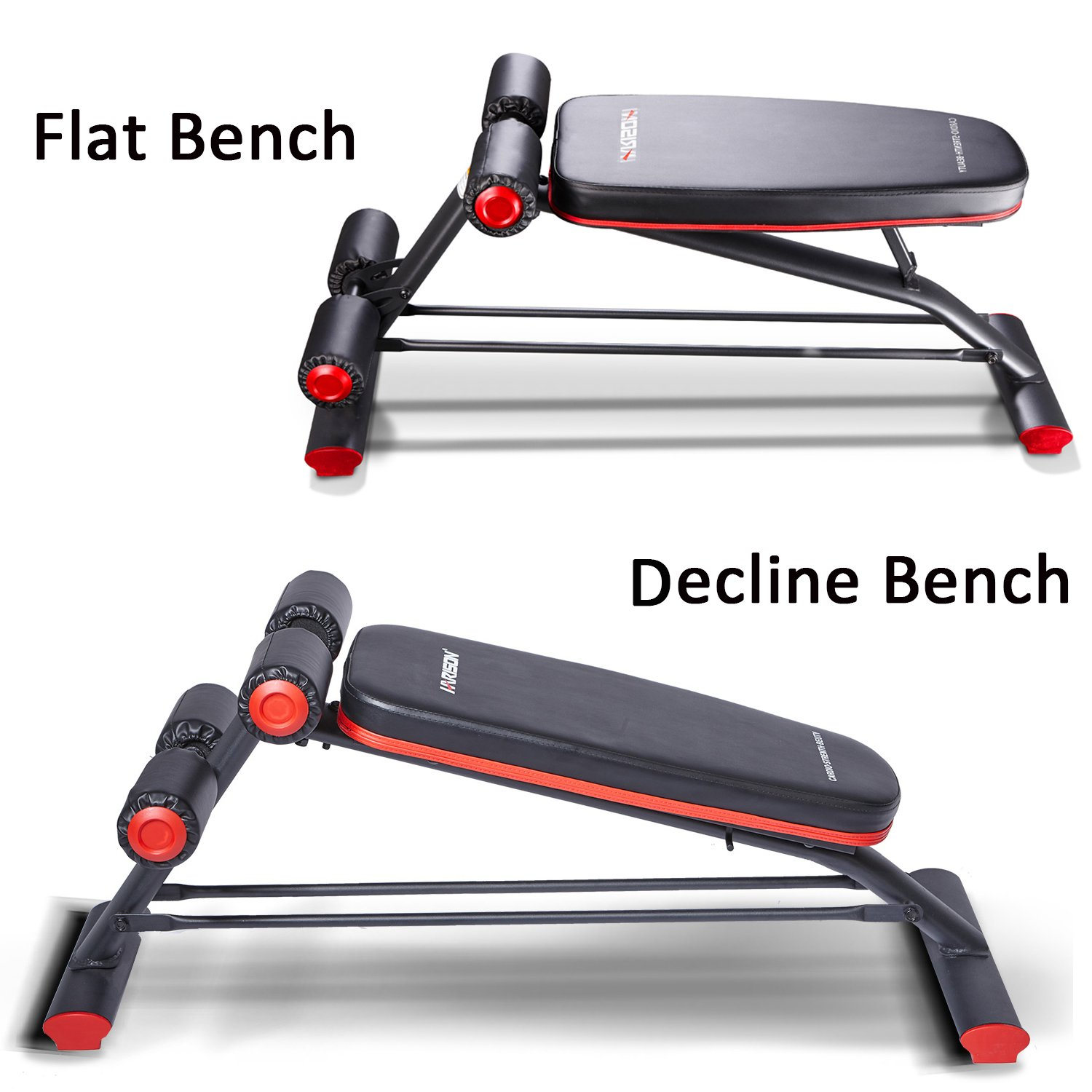 HARISON Compact Weight Bench with Dumbbel Rack, Adjustbale Flat Decline Workout Bench Exercise Equipment for Home Use