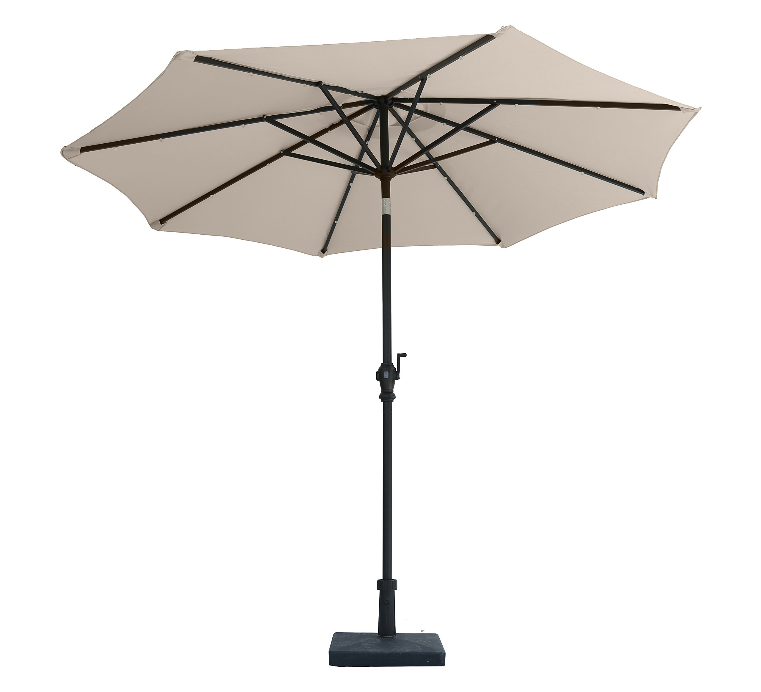 "Jardin du Sud"" 9 Feet Solar Powered LED Lighted Patio Umbrella with 24 LED Lights, Tilt and Crank, 220 GSM Fade Resistant Canopy – Bring Shade and Style to Your Yard"