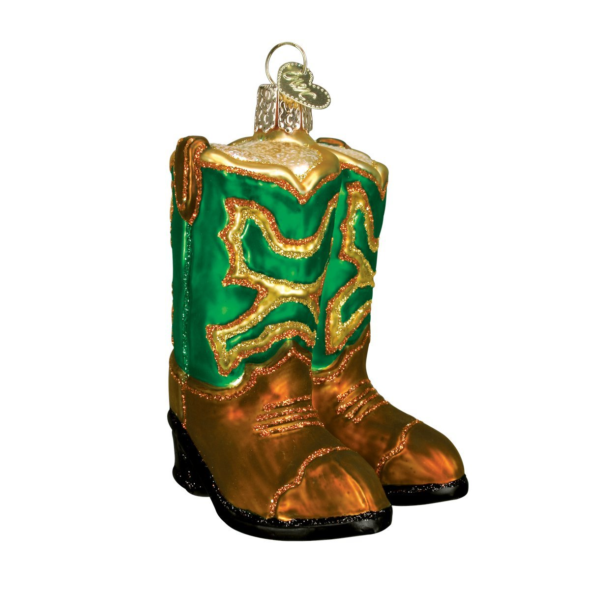 Clothing Collection Green Old World Christmas Glass Blown Ornament with S-Hook and Gift Box Pair of Cowboy Boots