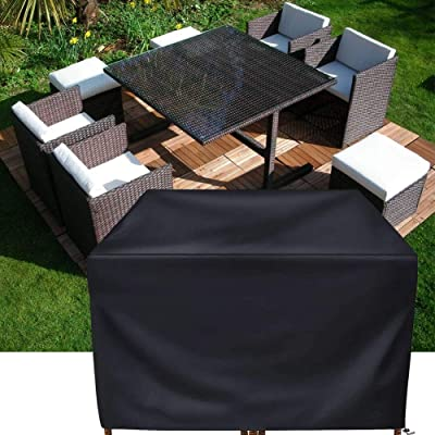 """Patio Furniture Cover Set,Square Rattan Wicker Table Chair Set Cover Rectangular Outdoor Sectional Sofa Set Covers, Water Resistant Large Garden Furniture Set Care 47""""x 47"""" x 29"""" Inch(120cm) Black: Kitchen & Dining"""