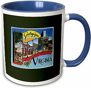 3dRose Greetings From Roanoke Virginia Scenic Postcard Reproduction Two Tone Mug, 11 oz, Blue