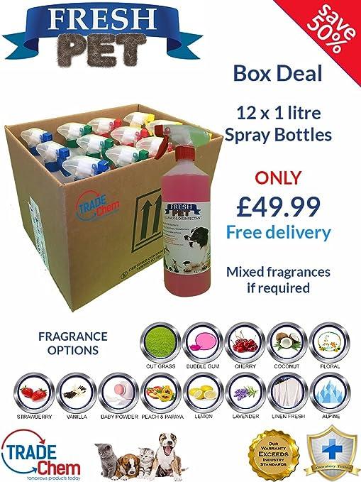12 Paquete fresco mascota 1L Spray caja Deal – Caseta/cattery desinfectante y ambientador fragancia