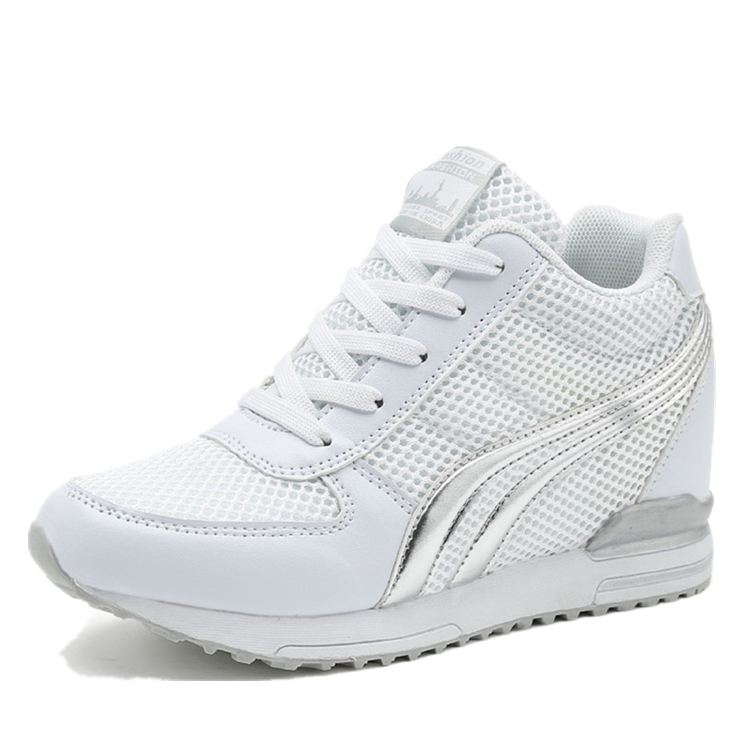 TQGOLD Womens Hidden Wedges Shoes High Heeled Lightweight Mesh Sneakers Casual Walking Shoes Tennis Chic(Size 38, White)