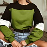 Gergeos Womens Splcing Color O-Neck Sweatshirt