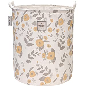 "Sea Team 19.7"" x 15.7"" Large Sized Folding Cylindric Canvas Fabric Laundry Hamper Storage Basket with Floral Pattern, Yellow & Grey"